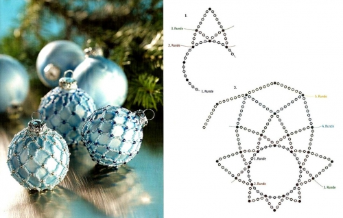 оплетение бисером елочного шара схема